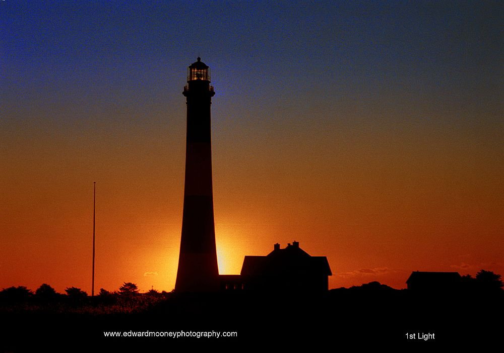 The sun is lighting up the beacon on the historical Fire Island Lighthouse on Long Island. You can buy this photo in print or on canvas. Giclee is beautiful.