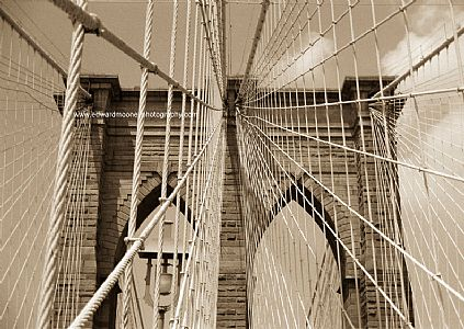 Brooklyn Bridge Close up (Sepia)