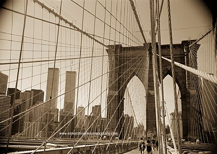 Brooklyn Bridge and Twin Towers (Sepia)