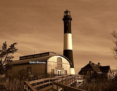 Fire Island Lighthouse w/lens building_Sepia